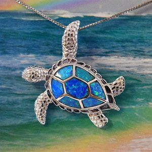 STERLING SILVER 925 SHINY CRESCENT MOON HAWAIIAN SEA TURTLE PENDANT